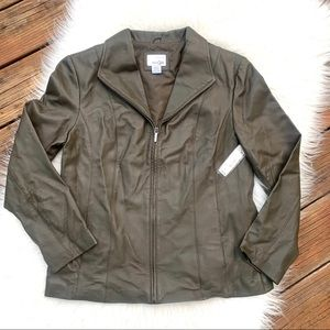 NWT East 5th Genuine Leather Olive Green Jacket L